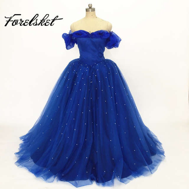 6824c9d2922 Ball Gown Cinderella Quinceanera Dresses blue Pink Princess Formal Long  Party Gowns Off Shoulder 3D Flowers