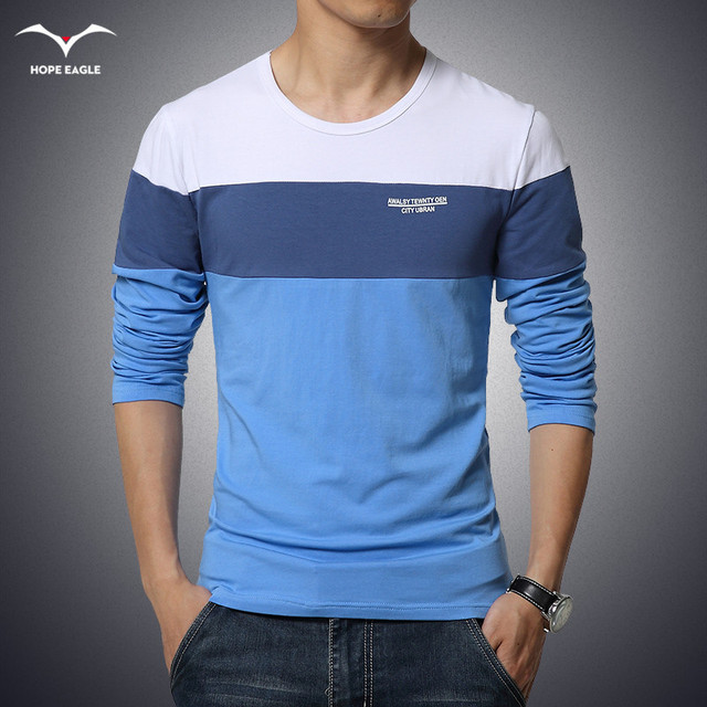 Men's Clothing Tops &Tees T-Shirts Free Shipping 2016 spring New Fashion Brand Men Solid Color Long Sleeve Slim Fit T Shirt
