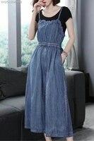 2018 Летний комбинезон женские джинсовые комбинезоны женские длинные штаны кружева полосатый комбинезон брюки свободные