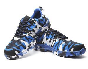 Image 5 - Inşaat erkekler açık artı boyutu çelik burunlu iş ayakkabıları ayakkabı erkekler kamuflaj delinme geçirmez güvenlik ayakkabıları nefes