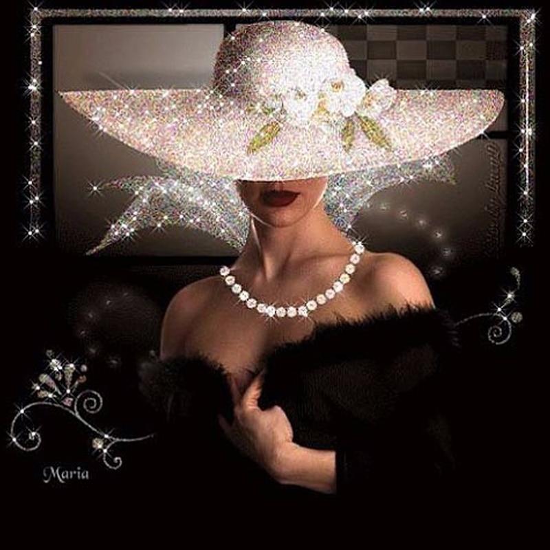 5D Diy Diamond Painting Cross Stitch Full Diamond Embroidery Beautiful Lady In White Hat Mosaic Rhinestone Needlework Resin KBL