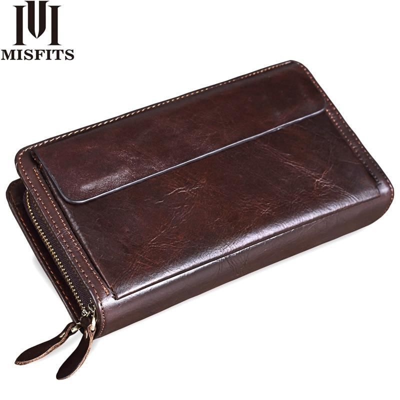 MISFITS Men Clutch Wallets Genuine Leather Brand Designer Vintage Long Wallet Card Holder Male Large Purse Cell Phone Clutch Bag