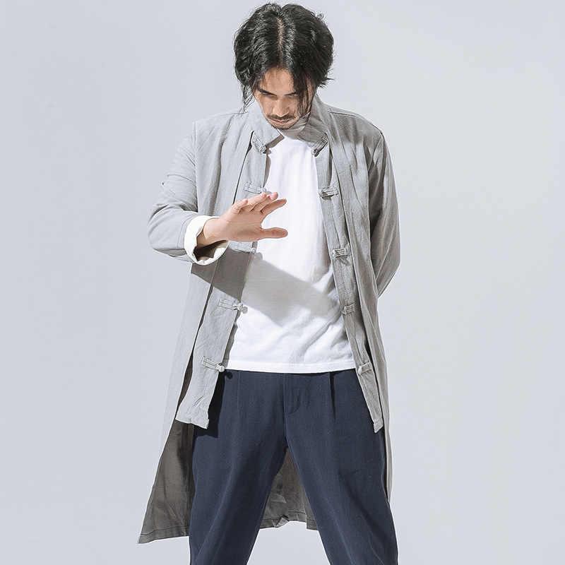 メンズ春秋ロングトレンチ綿リネンソリ薄型ジャケットカンフー太極拳衣装男性繁体字中国語服 CN-113