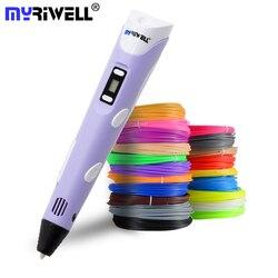 Caneta Impressão Caneta Myriwell 3D Display LED 2nd Geração 3D Com 9 M ABS Filamento Artes DIY canetas Para As Crianças ferramentas de desenho
