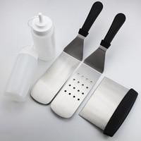 5pcs Set BBQ Tools Barbecue Set For Teppanyaki Spatulas For Barbecue Scrapper Grill Accessories For Grilling BBQ Griddle Tools