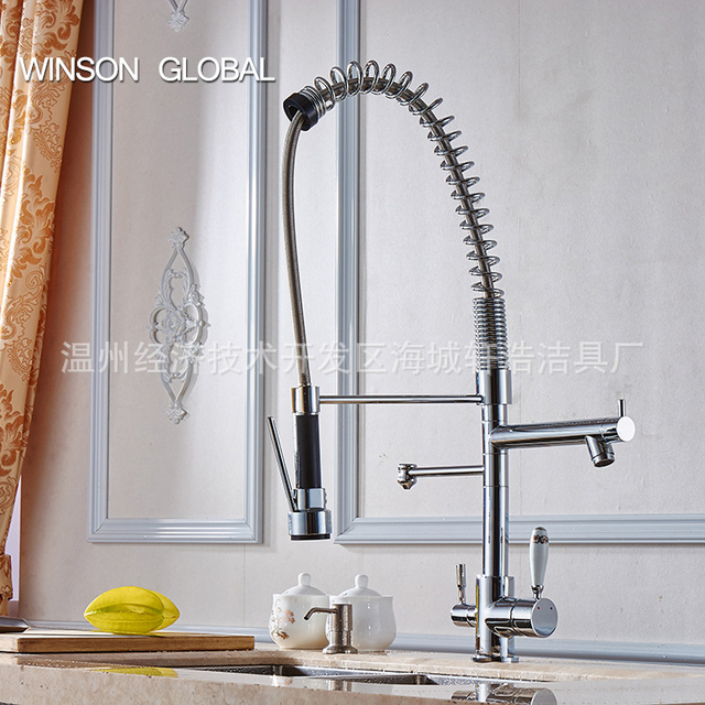 Water Tap Kitchen Faucet Spring Pull Out Stainless Steel Faucet Pot Filler  3 Sprayer Frap Kitchen