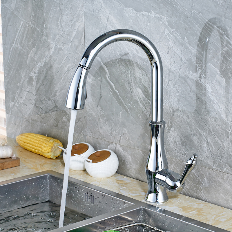 Chrome Finish Deck Mounted Kitchen Sink Mixer Faucet with Pull out Sprayer