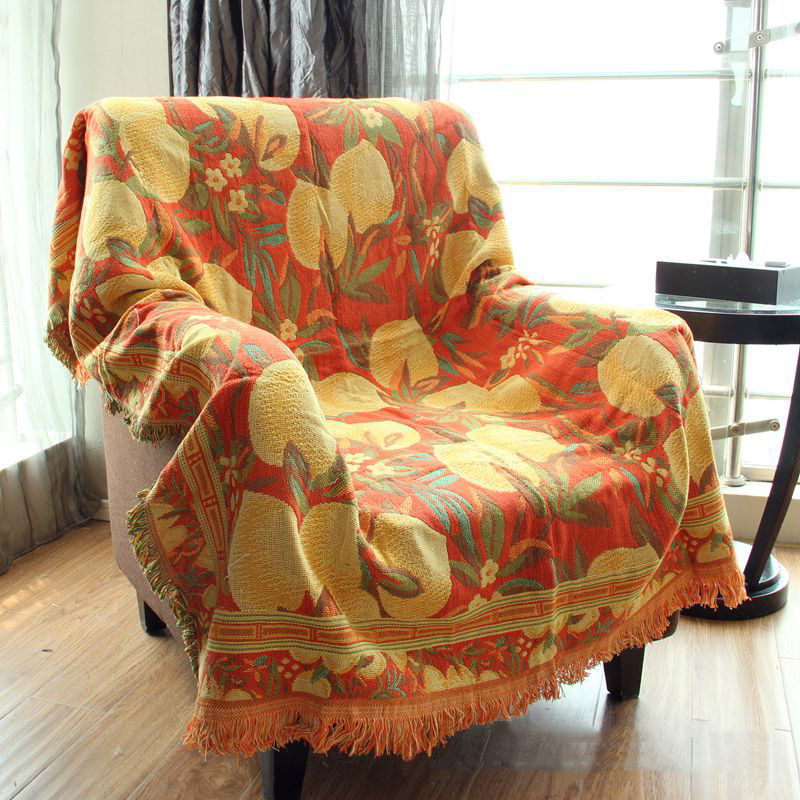 Covering Accent Chair With Throw: Tassels Lemon Pattern Woven Soft Sofa Blankets Throws Rugs