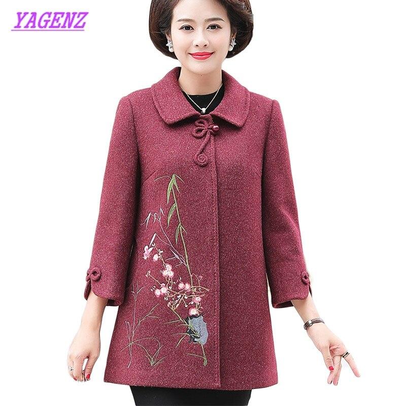 Grande taille femmes d'âge moyen nouveaux loisirs laine manteaux automne hiver veste manteau femmes broderie tempérament pardessus 5XL B996