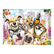 DIY diamond paitning dog cats wall decor animal embroidery cat party home full mosaic