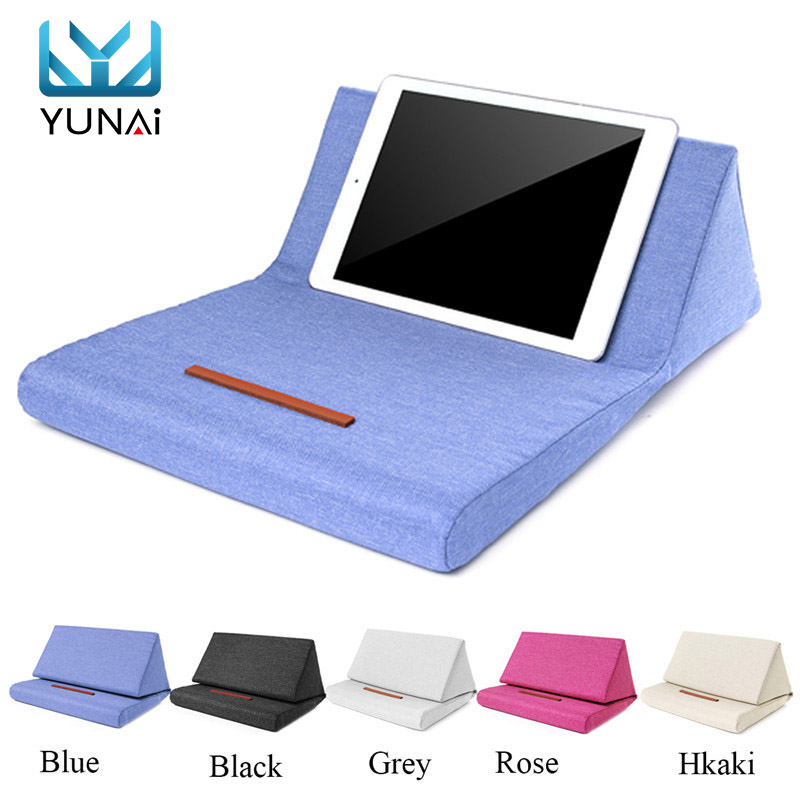 Portable Plush Tablet Pillow Holder Stand Stylish Wedge Pillow Angled Cushion Lap Cooling Stand for iPad PC Tablet Book Reader stylish stripe and bowknot shape design decorated cushion pillow