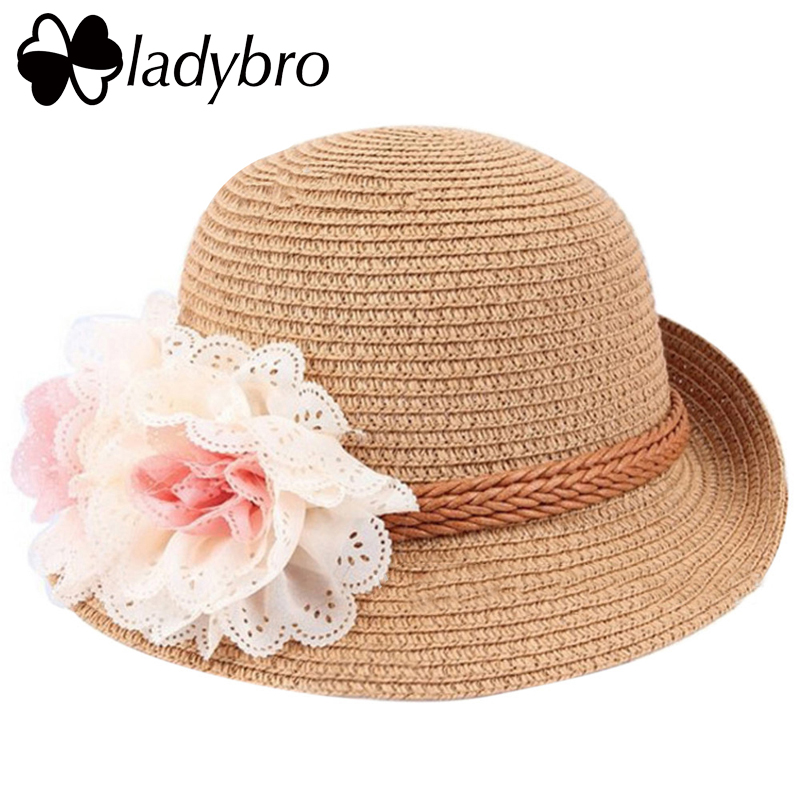 Ladybro Kids Straw Hat Summer Wide Brim Sun Hat Child Hat Cute Floral - Kledingaccessoires