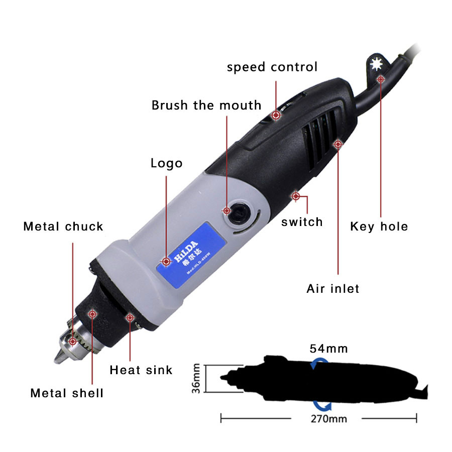 400 W mini elektrický vrták pro dremel s 6 polohami Dremel s - Elektrické nářadí - Fotografie 2