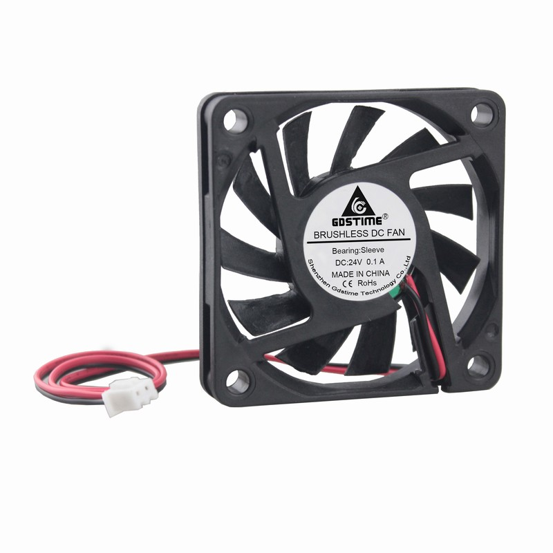 20 Pieces Gdstime <font><b>6010</b></font> Brushless 2.36 inch Cooling <font><b>Fan</b></font> 60mm x 10mm 2Pin DC <font><b>24V</b></font> 6cm 60x60x10mm image