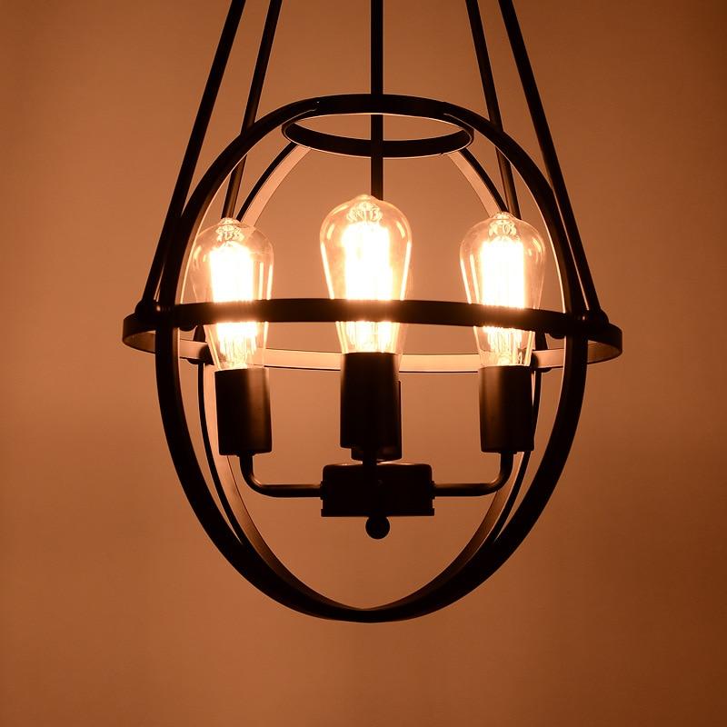American Country Retro Iron Pendant Light Creative Loft Style Cage Restaurant Vintage Decoration Light Free Shipping