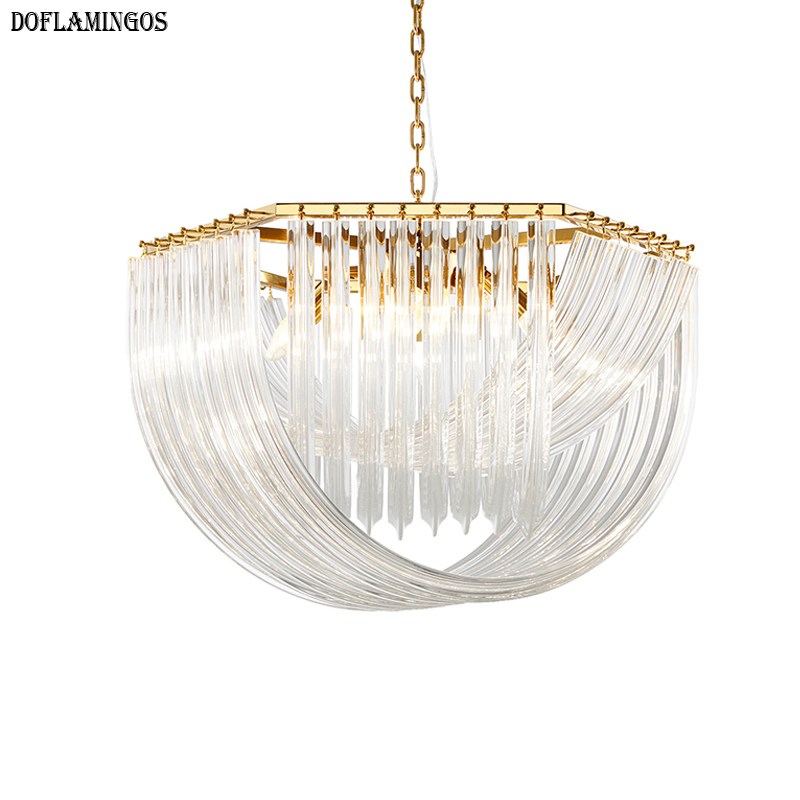 Postmodern Fashion Gold Glass Crystal Bend Designer Club Hotel Light Luxury Boutique Villa Metal Chandelier