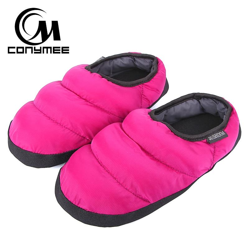 CONYMEE Home Slippers Women Winter Warm Plush Pantufa Down-cotton Indoor Shoes Men/Woman Plus Size Casual Terlik Fur Slipper