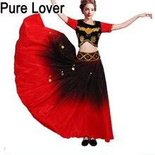 Purelover Flamenco Dance SET Top Skirt gold Coin spanish Dancing performance Costume women vestido flamenco 360 Degree PLUS SIZE цена
