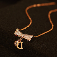 Summer Fashion Simple Metal Chain Bow Crystal Zircon Stone Letter D Clavicle Necklace For Girl Women