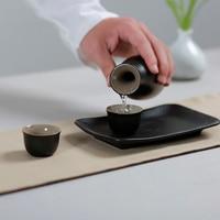 Japanese Style Black Ceramic Pottery Wine Ware Set Home Drinkware Liqueur Pot Teacup Hip Flask Mini