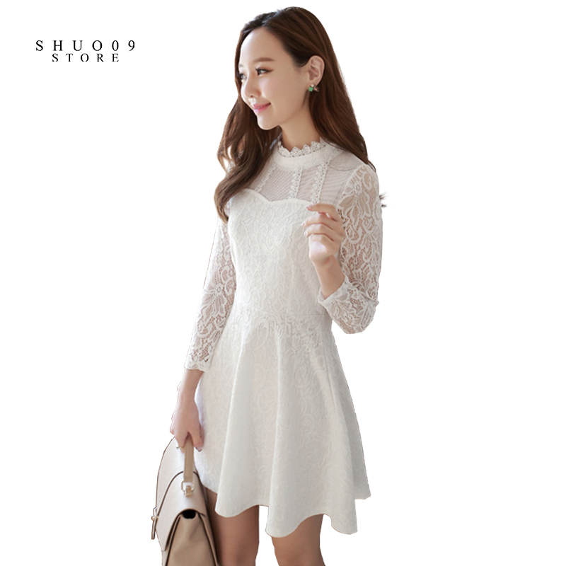 2018 New Fashion Spring Autumn Women Lace Dress Sexy Elegant Dress White and Black Half-High Collar Dress Basic Through the Meat
