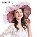 Rimiut Frauen Mesh Kentucky Derby Kirche Sonnenhut Mit Blumen sommer Breiter Krempe Kappe Hochzeit Hüte Strand Sonnenschutz Caps