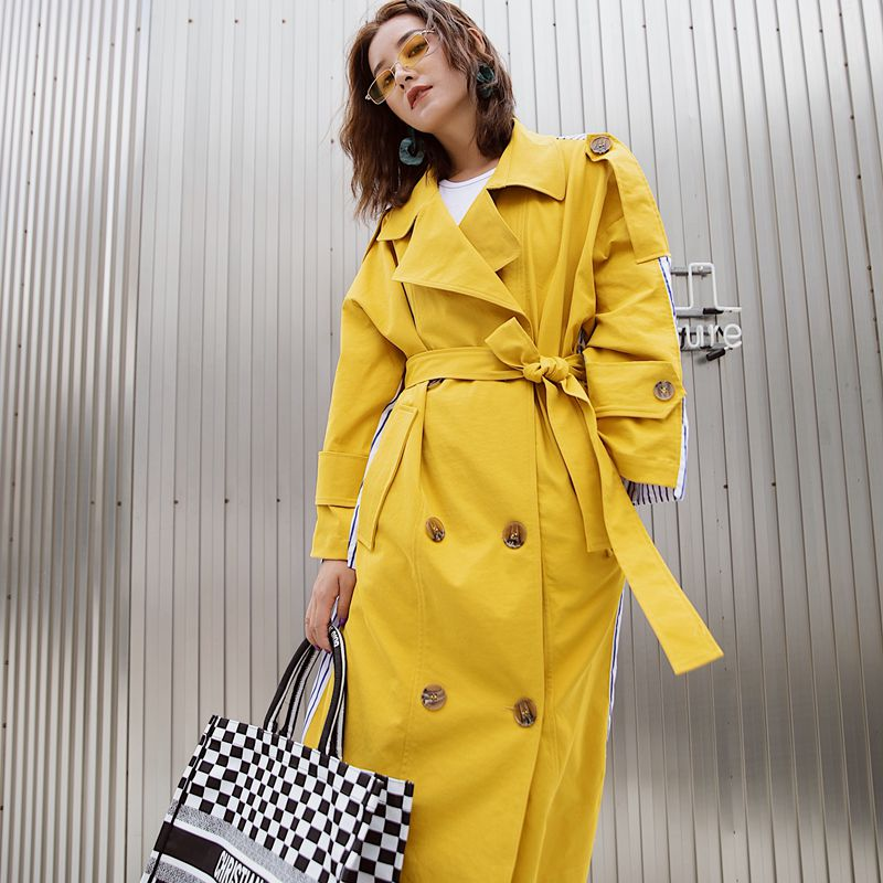 FTLZZ 2019 Women Windbreaker Long Coat Autumn New Style Striped Stitching Yellow Winter   Trench   Coat Female Clothes