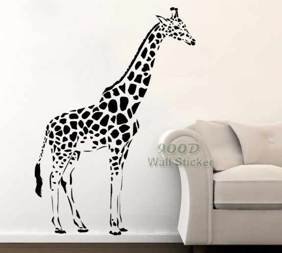 big giraffe wall sticker. diy home decoration removable wall decor