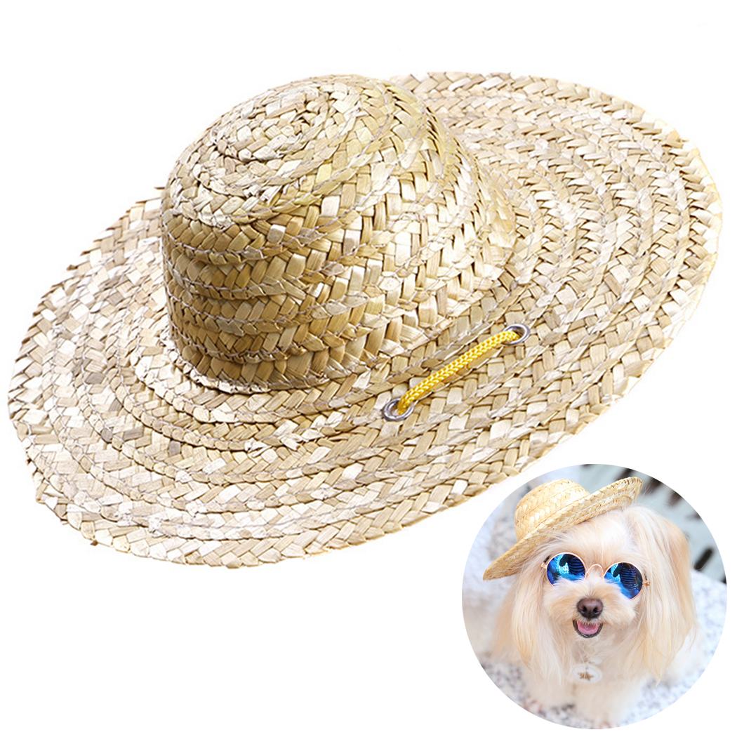 2019 Fashion Summer 1pcs Pet Dog Cat Cool Straw Hat Sun Hats Puppy Supplies Hawaii Style Pet Accessories Dogs Cats Caps