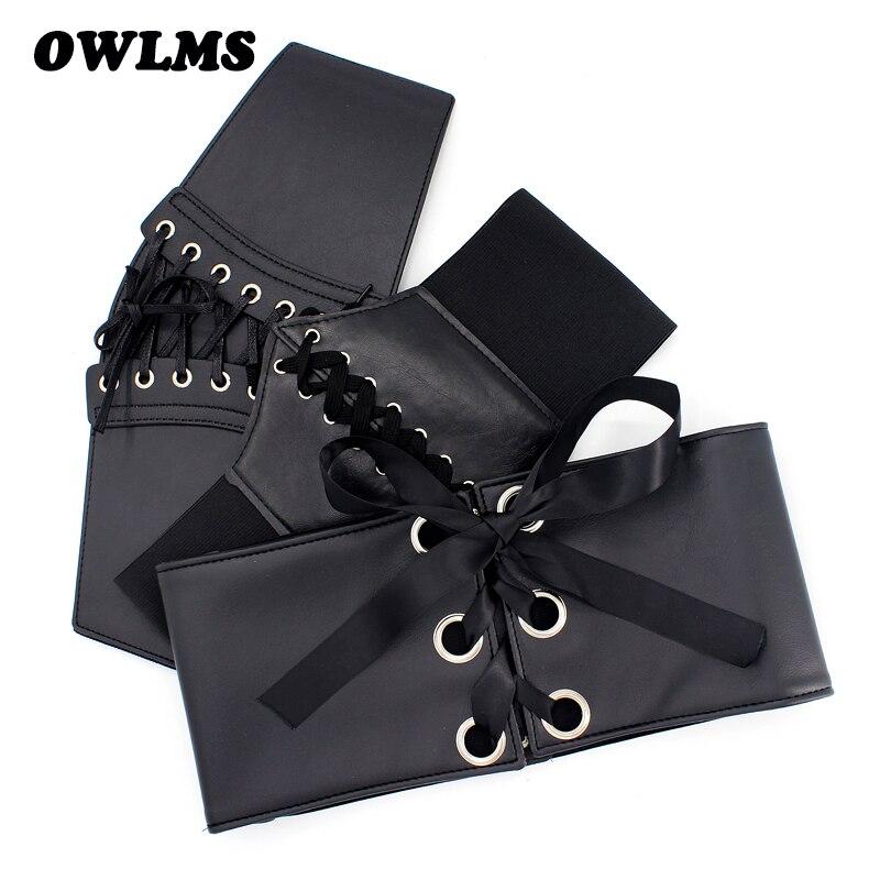 New Women Ultra Wide Cummerbunds Lady Adjustable Slim Body Corset Black Waistband Soft PU Leather Comfortable Elastic Waist Belt