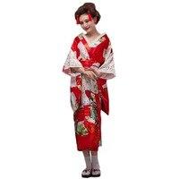Women's Japanese Kimono Robe Gorgeouse Traditional Peacock Floral Yukata Kimono Belt Outfit Geisha Costume Cosplay Dressing Gown