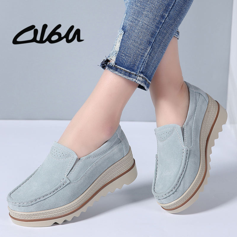 O16U 2018 NEW Women Flats Platform Shoes   Suede     Leather   Shoes Slip on Ladies Moccains Platform Loafers Shoes Flat Women Creepers
