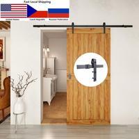4.9FT/6FT/6.6FT Carbon steel rustic interior sliding wood barn door hardware