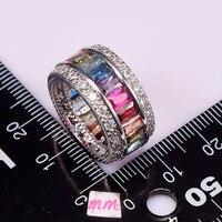 Weinuo Стерлинговое Серебро-ювелирные изделия Многоцветный Кристалл Циркон 925 пробы серебряные ювелирные изделия опт розница кольцо для женщин размер 6-12