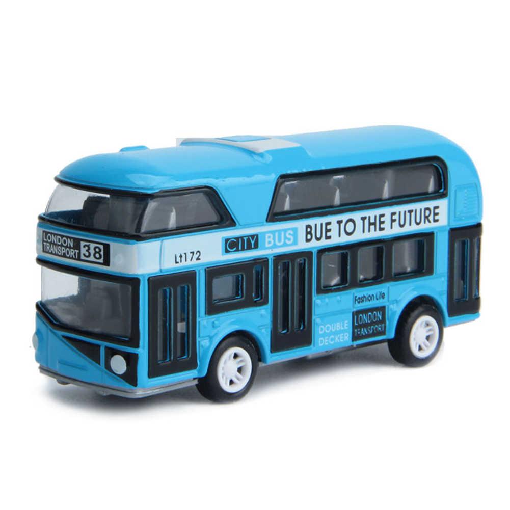 1PC Alloy Car Model Pull Back Alloy Children Car 1:43 Simulation London  Bus 10*3*4.5cm distribute randomly