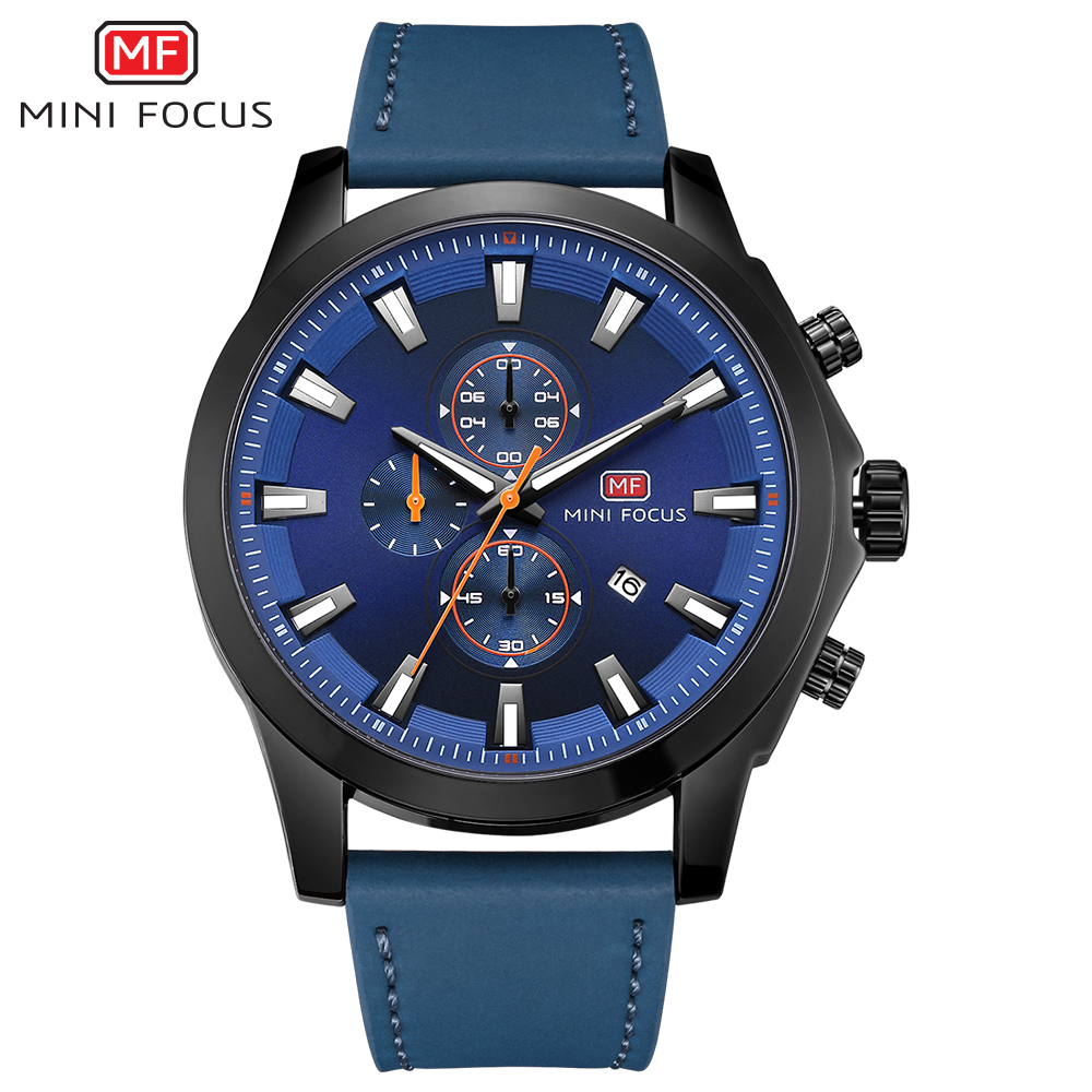 MINIFOCUS Men Watches Quartz 2018 Luxury Brand Sport Leather Strap Wristwatch Mens Auto Date Luminous Hands Montre Homme high quality luxury brand men sports waterproof watches quartz hour clock men leather strap montre homme with auto date