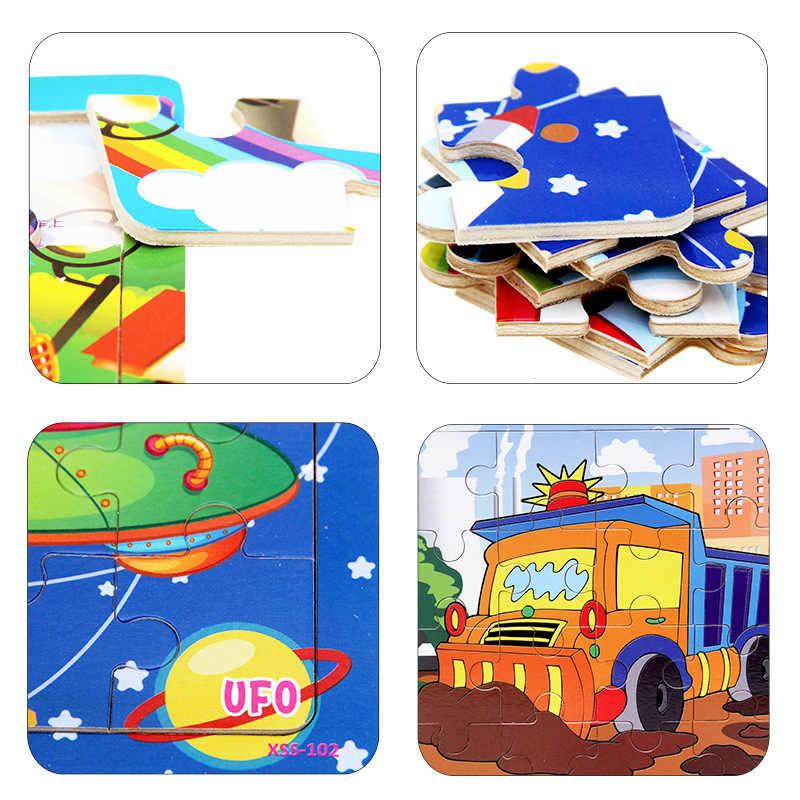 Montessori ของเล่นเพื่อการศึกษาของเล่นไม้เด็ก Early Learning 3D การ์ตูนปริศนาการจราจรเด็กตรงคณิตศาสตร์ช่วยสอน