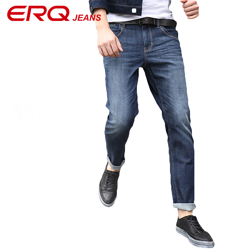ERQ men jeans 2017 summer autumn Fashion Slim Fit skinny jeans Wash Denim Trousers Brand Clothing plus size 90101 hee grand 2017 spring summer men jeans full length business style slim fitted straight denim trousers plus size 29 40 mkn960