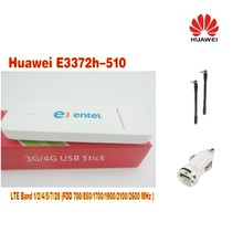 Huawei E3372h-510 LTE Band (FDD700/850/1700/1900/2100/2600MHz USB Stick Modem plus 2pcs antenna and car charger