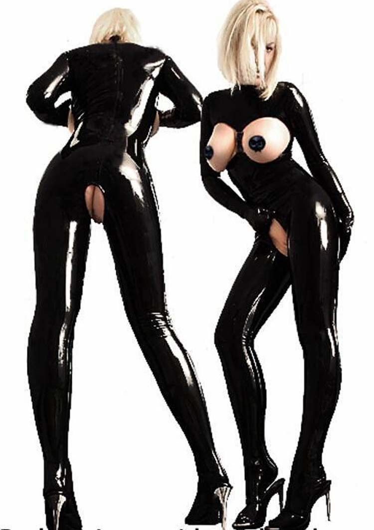 <font><b>Sexy</b></font> <font><b>Women</b></font> <font><b>Catsuit</b></font> Open Bust Bodysuit Cat Ladies Costume Open Crotch <font><b>PVC</b></font> Latex <font><b>Catsuit</b></font> Tight Fitting Jumpsuits Club Dance Wear image