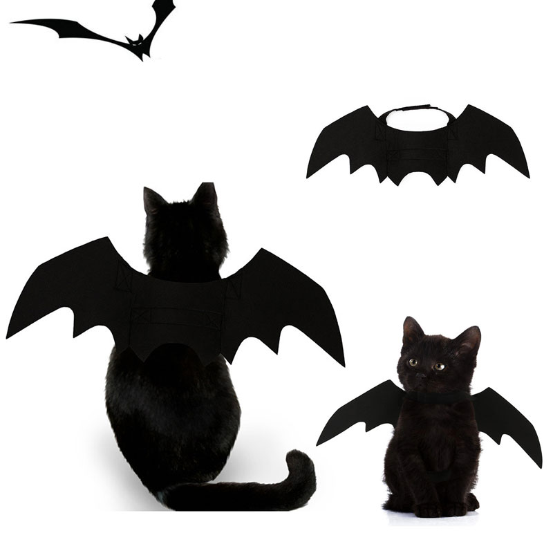 Halloween Cat Collar Bat Wings Decor Harness Black Cool Puppy Pet Cat Black Bat Dress Up Funny Wing Walking With Cat Accessories