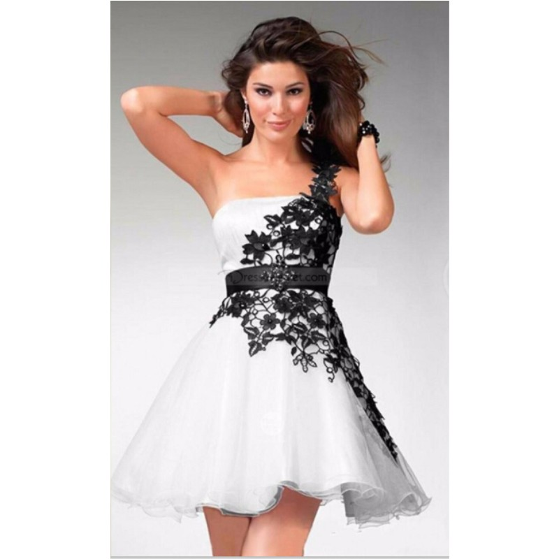 Popular Black and White Lace Prom Dress-Buy Cheap Black and White ...