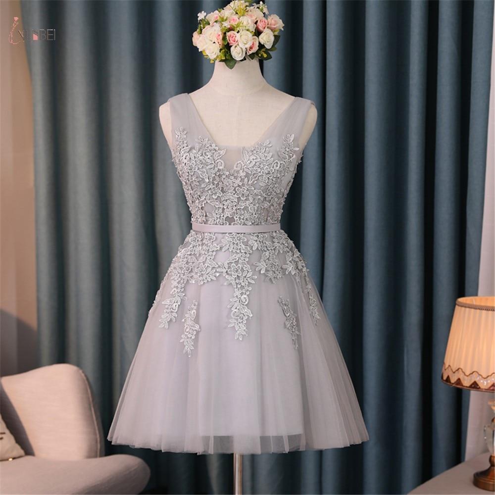 Homecoming Dresses 2019 Silver Tulle Elegant A Line Graduation Gown V Neck Sleeveless Lace Applique Vestidos De Graduacion