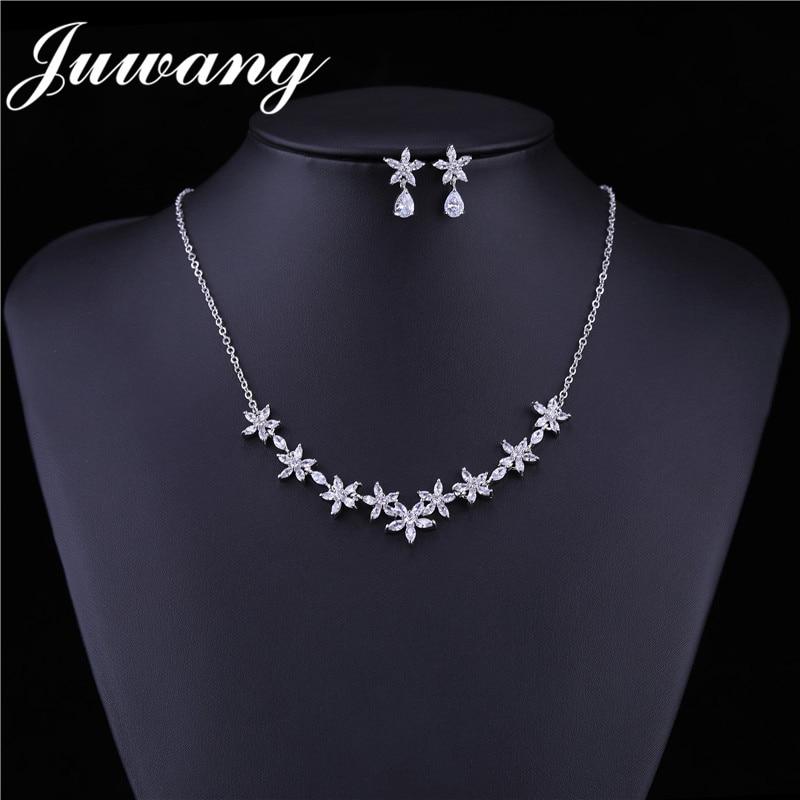 JUWANG-bijou de marque pour femmes, bijou exclusif à fleurs de couleur argent, zircone cubique, ensemble de bijoux pour fêtes, cadeau pour femmes 2