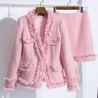 2019 Autumn Winter Sweet Pink Two Piece Set Women Work Casual V neck Tassel Pearls Tweed Blazer Jacket + Mini Skirt Suit Y102
