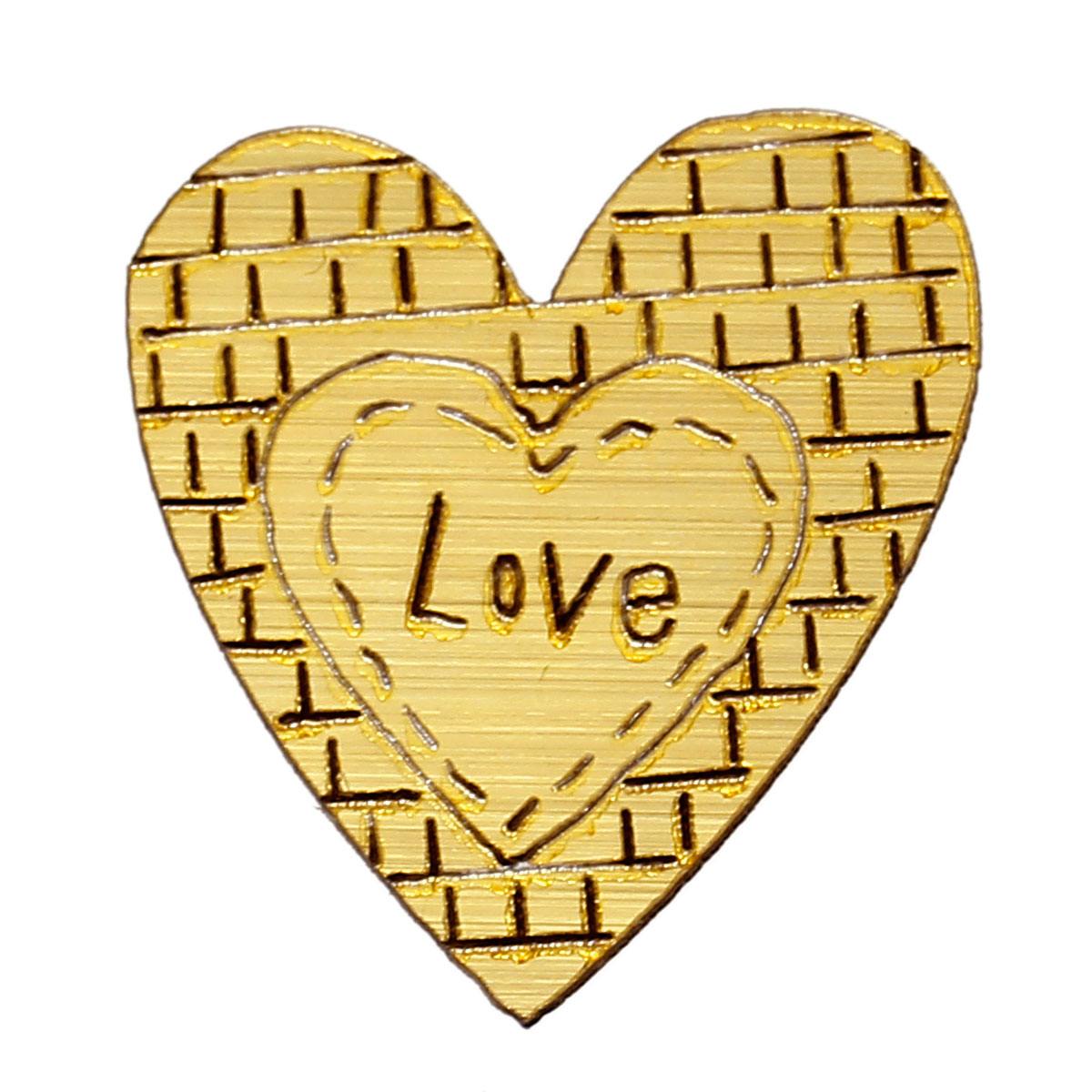 Wood Cabochons Scrapbooking Embellishments Findings Heart Golden Message Love 31mm(1 2/8)x 29mm(1 1/8),50 PCs