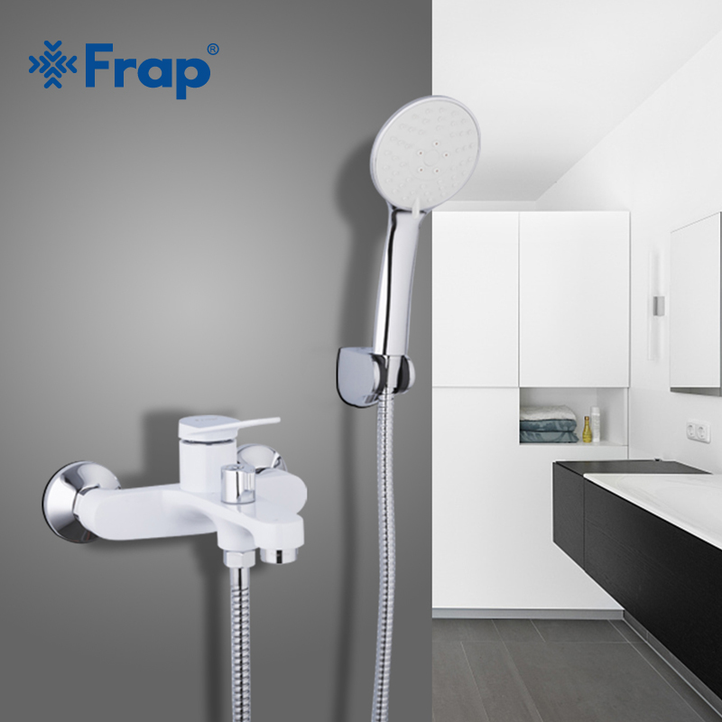 Frap new White Bathroom Shower set Brass Chrome Wall Mounted Shower Faucet bath bathtub water mixer tap hot and cold water F3245 frap wall mounted shower bathroom faucet cold