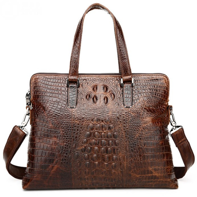 KUNDUI New Man Crocodile pattern Genuine Leather Men Casual Handbags Cowhide Men's Business Travel Bags Laptop Briefcase Bag kundui suitcase women men travel bag thickening aluminum alloy laptop large toolbox lockable storage display box briefcase