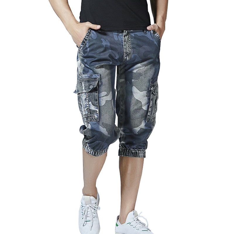 MORUANCLE Mens Casual Camouflage Cargo Shorts Military Style Camo Tactical Short Trousers Plus Size 30-40 Elastic Cuff