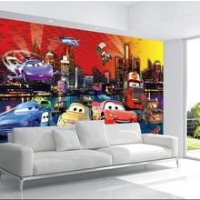 Пользовательские papel де parede infantil большие фрески мультфильм автомобиль для детской комнаты ТВ установка стены винил, которые papel де parede